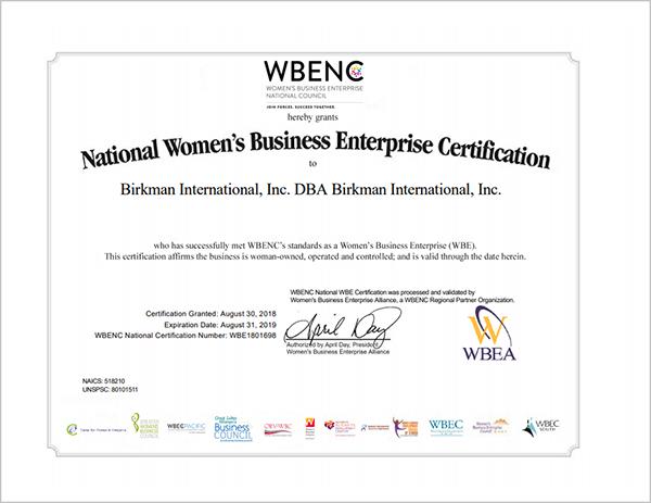Women's Owned Business Certificate - Birkman