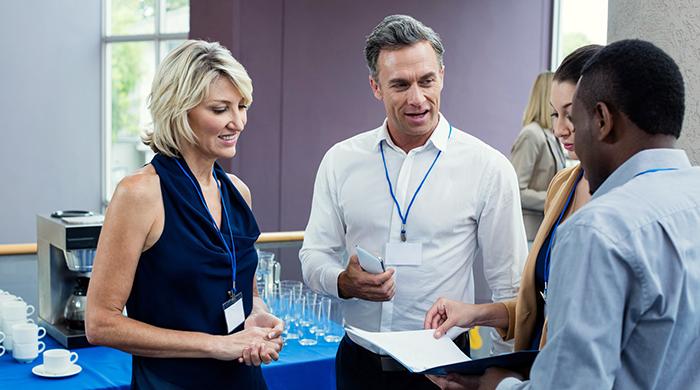 Meeting candidates at a career fair